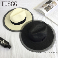 Hot New Spring Summer Straw Hats For Women Net Yarn Wide Brimmed Jazz Panama Hat Chapeu Feminino Sun Beach Hat Cappello Bowler
