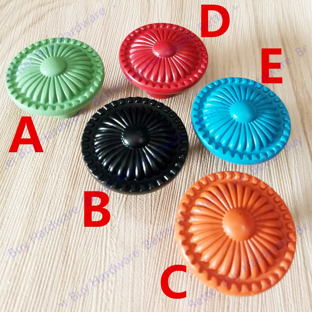 Dia:31mm button style Colorful metal Knob Cute funiture handle Pull For kids children be ...