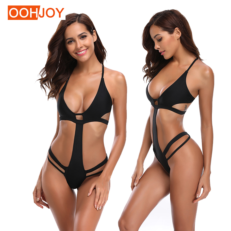 2fa6d511958d4 Detail Feedback Questions about New Sexy Hollow Design Monokini Women One  Piece Swimsuit Solid Black Swimwear Girl Backless Bathing Suit S XL One  Piece ...