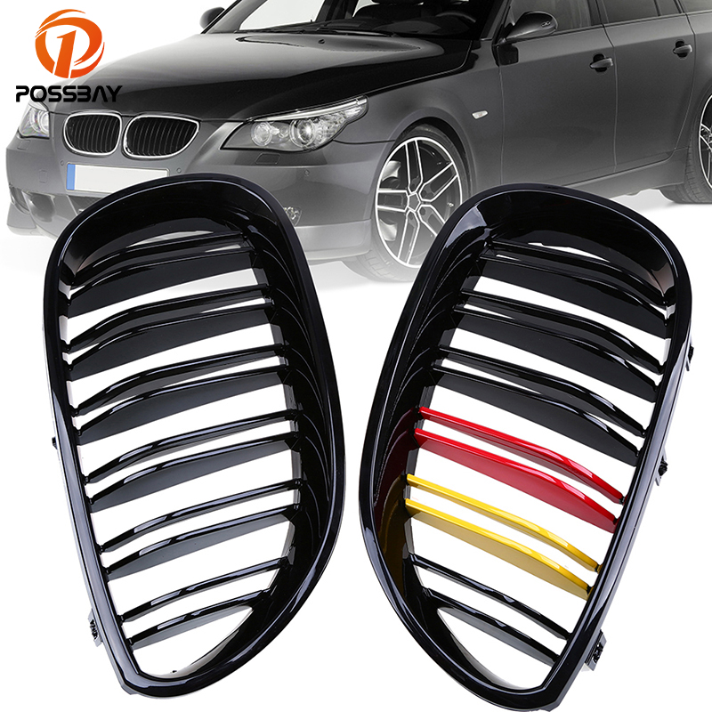 POSSBAY Car Front Bumper Center Wide Kidney Hood Racing Grilles Germany Flag Style Grill for BMW