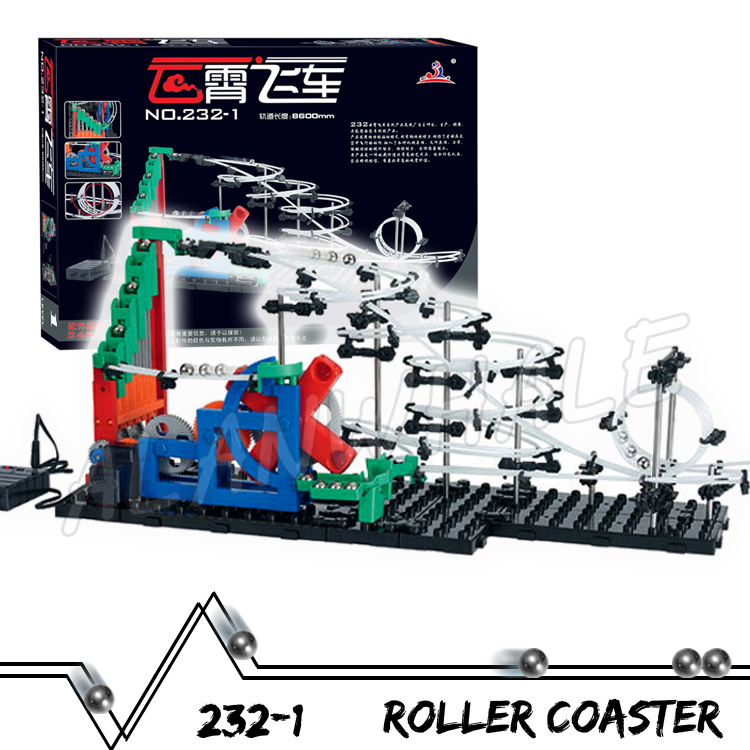 860cm Rail Marble Run Gear Drive Stairs Maze Race Roller Coaster Electric Elevator Model Building Kit Toy Rolling ball Sculpture