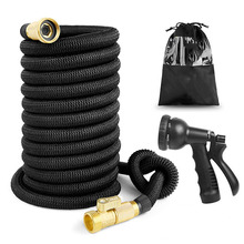 Retractable Garden Hose 25ft - 75ft Magic 6 x 10 Natural Rubber Multi-Function Nozzle Set for Watering Car Wash