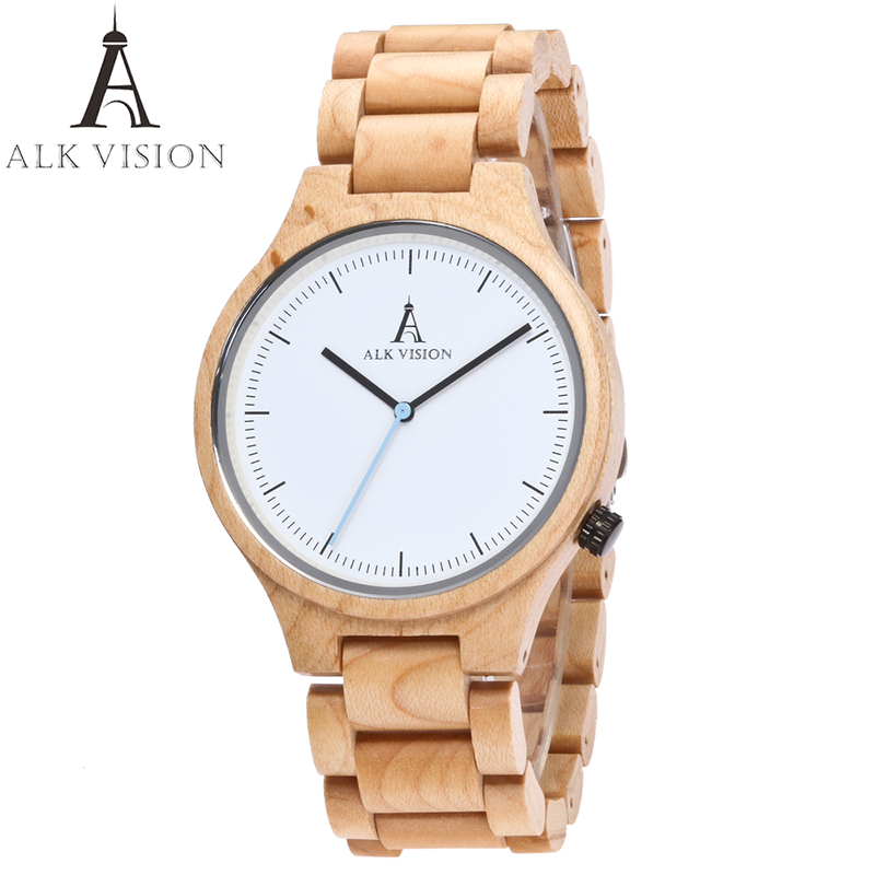 ALK Vision Wood Watch Male Female Couple Watches Maple Wooden Wrist Watch For Men Women Ladies Lovers Watch Casual White Colock