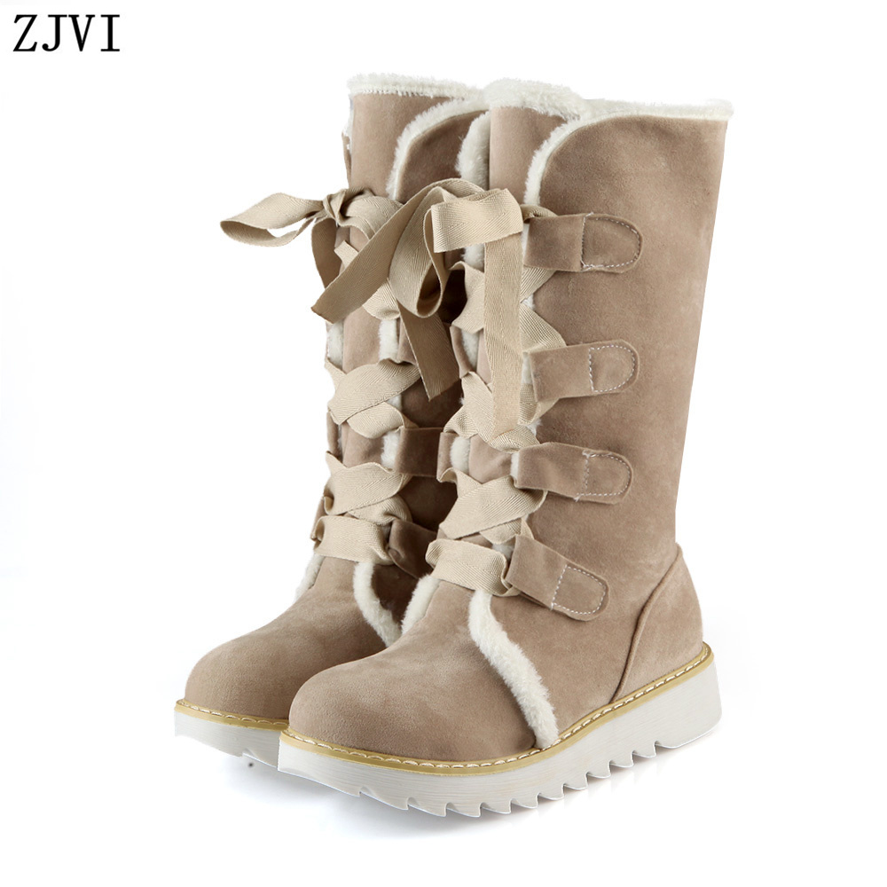 ФОТО ZJVI nubuck women worm plush mid calf boots female sexy lace up snow boots fashion winter flat womens round toe woman flats