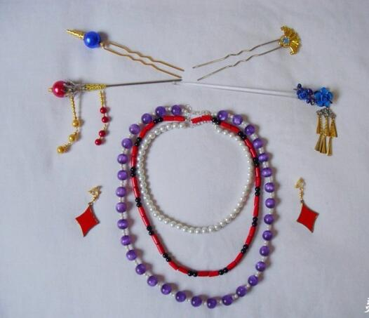 Final fantasy ff10 lulu cheveux bâtons collier accessoire cos cosplay