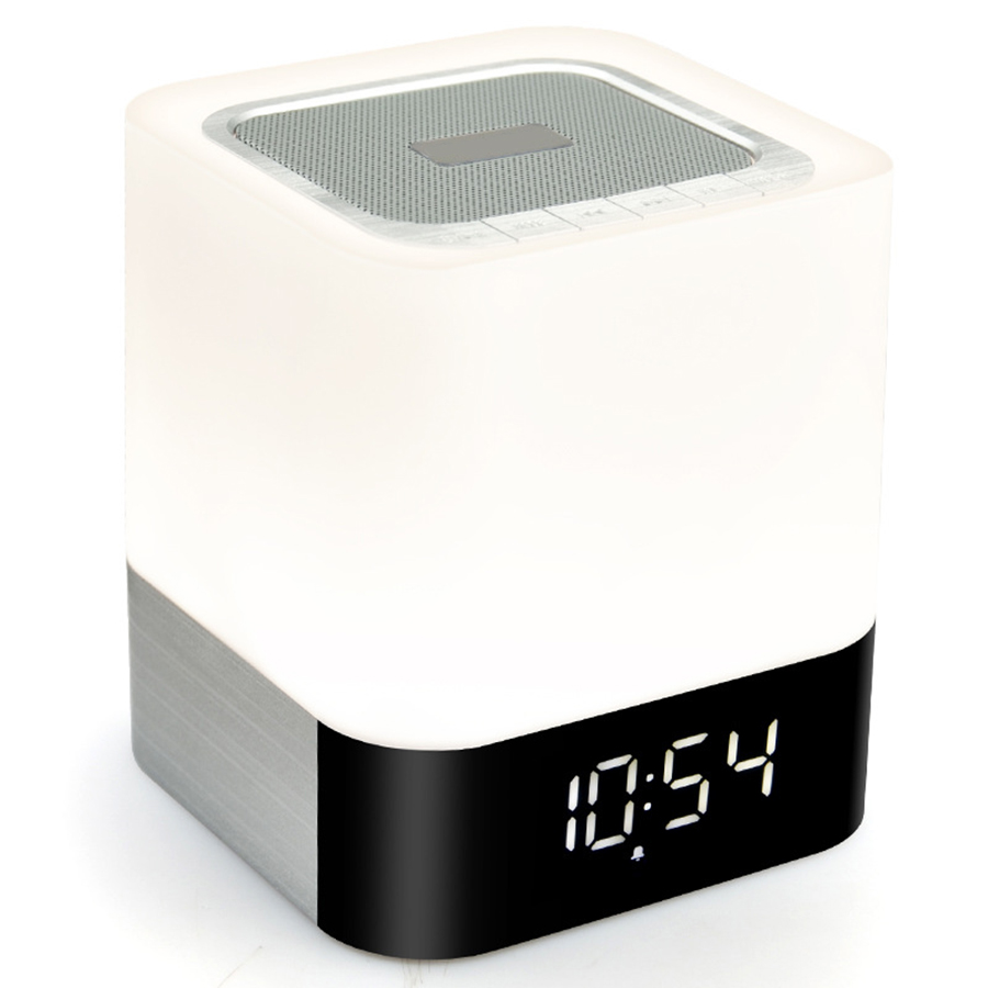 Wireless Bluetooth Speaker Music Sound Box With Alarm Clock Function Touch LED Table Lamp Support Hands-Free Call TF Card Slot