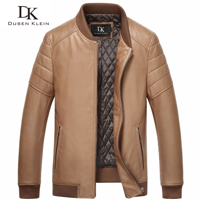 Dusen Klein 2017 Men's Genuine Leather Sheepskin Slim Jackets Men's Young Casual Plus Cotton Men's Leather Clothes 15L1503
