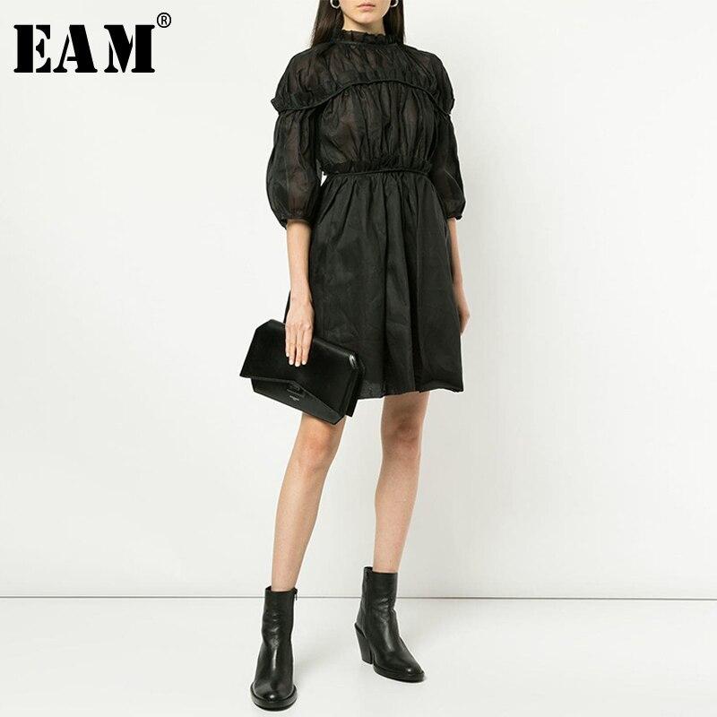 [EAM] 2020 New Spring Summer Stand Collar Three-quarter Sleeve Black Ruffles Split Joint Temperament Dress Women Fashion JX428