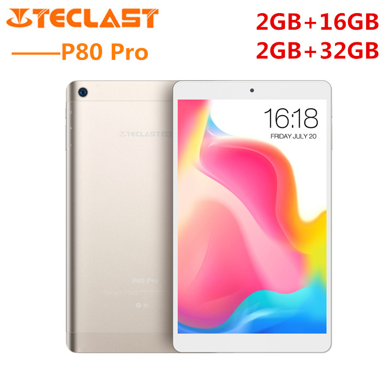 Teclast P80 Pro Tablet PC 8.0'' Android 7.0 MTK8163 Quad Core 1.3GHz 2GB RAM 16GB/32GB eMMC ROM Double Cameras Dual WiFi HDMI ipega pg 9701 7 quad core android 4 2 gaming tablet pc w 2gb ram 16gb rom holder hdmi black