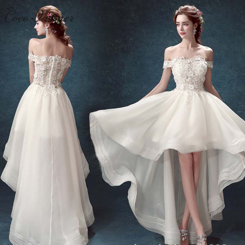 Off Shoulder Cap Sleeves Low/high Short Beach Wedding Dress  3D Floral Appliques Organza Country Wedding-Dress W0087