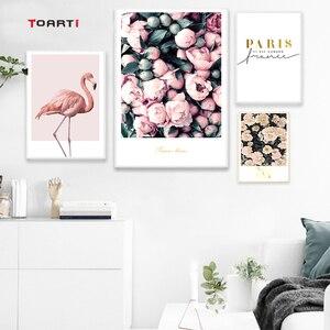 Image 3 - מודרני פרחי בד ציור על קיר רומנטי פורח כרזות הדפסי ורוד פלמינגו דקורטיבי תמונות לסלון בית