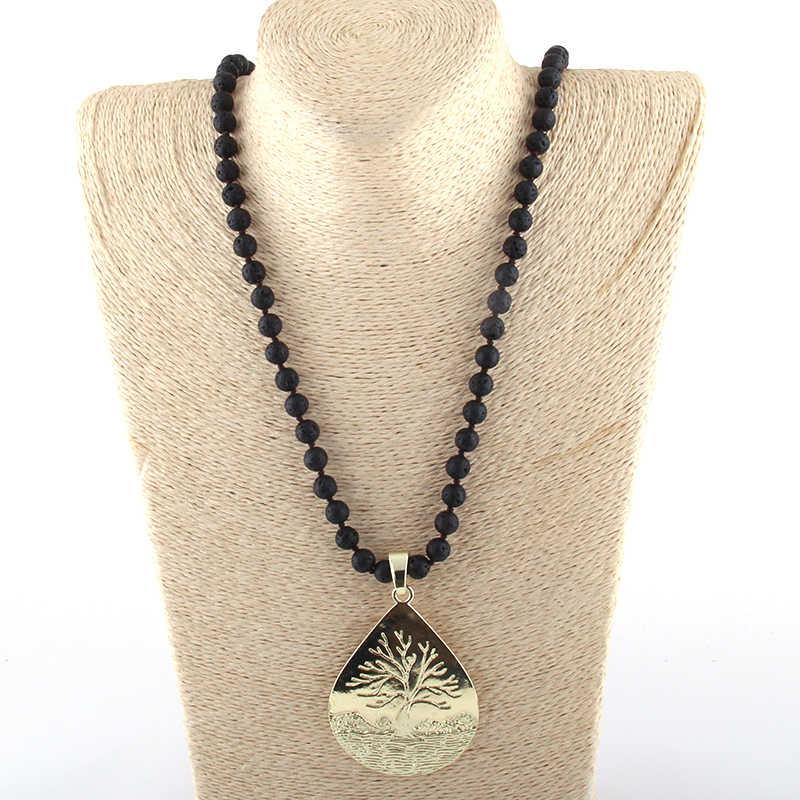 Модные богемные ювелирные изделия Лава камень завязанные металлические подвески ожерелья