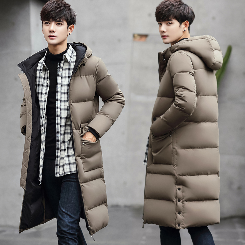 In the long winter down jacket young male Korean slim type Long Maxi British style white eiderdown coat