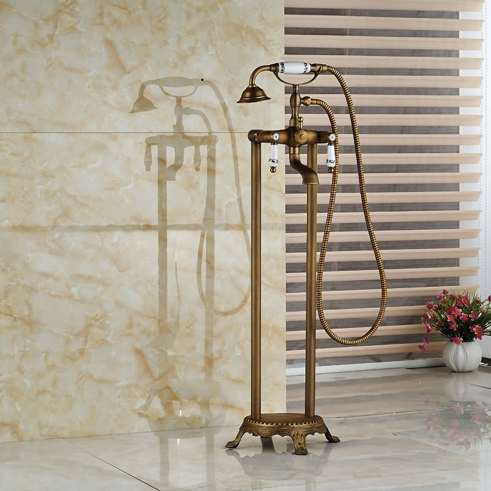 Modern Floor Mount Bathroom Claw foot Bath Tub Faucet Free Standing ...