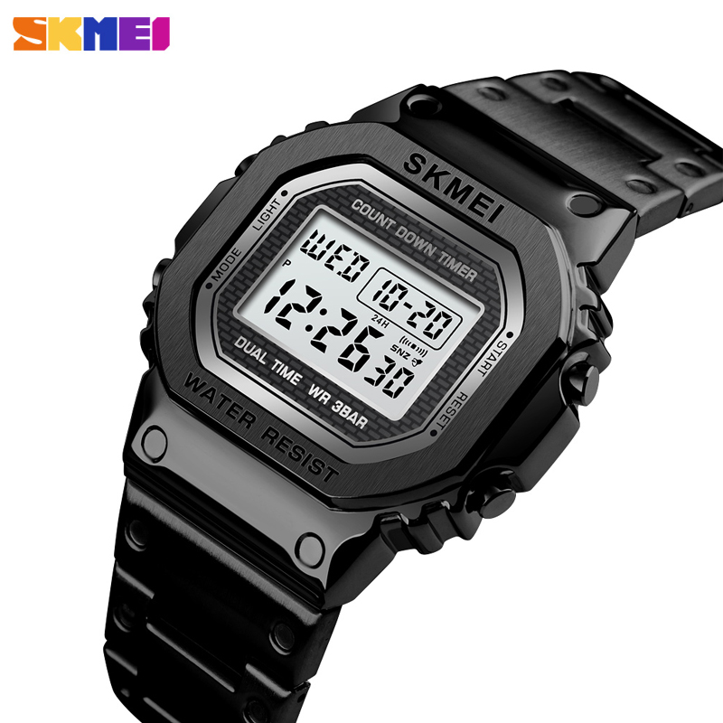 Brand <font><b>SKMEI</b></font> Men Sport Watch Luxury Led Luminous Chronograph Electronic Wristwatch Fashion Men's Waterproof Bracelet Alarm Clock image