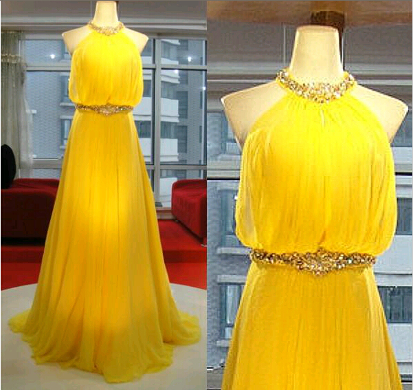 Crystal Sexy backless high neck Prom gowns 2019 new yellow chiffon Floor Length a-line party Custom Made   bridesmaid     dresses