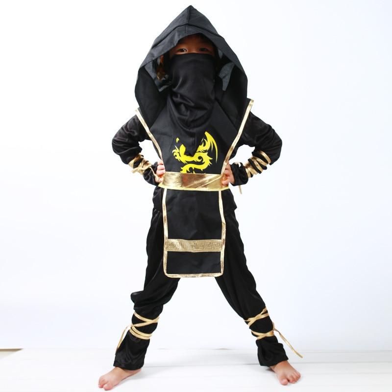 Blue Ninja Boys Fancy Dress Japanese Samurai Warrior Kids Childs Costume Outfit