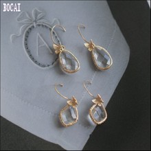 S925 silver jewelry brushed  crystal clear dripping three-dimensional matte butterfly earrings fairy Womans