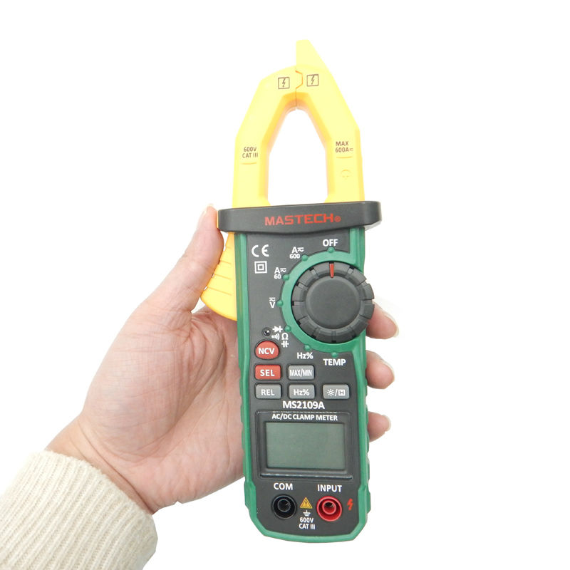 Mastech MS2109A Auto Range Digital AC DC Clamp Meter 600A Multimeter Volt Amp Ohm HZ Temp Capacitance Tester NCV Test  цены