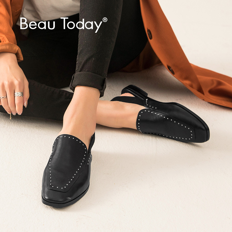 BeauToday Sandals Women Cow Leather Gladiator Rivet Elastic Back Strap Flat Heel Genuine Leather Summer Shoes