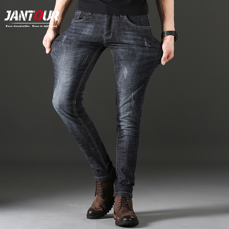 comprar online 8802c f3ca9 US $19.61 57% OFF|jantour Men'S Classic Jeans Brand Large Size blue  Straight Pantalon Homme Jean Slim Biker Pants Fit Black Regular pants  summer-in ...