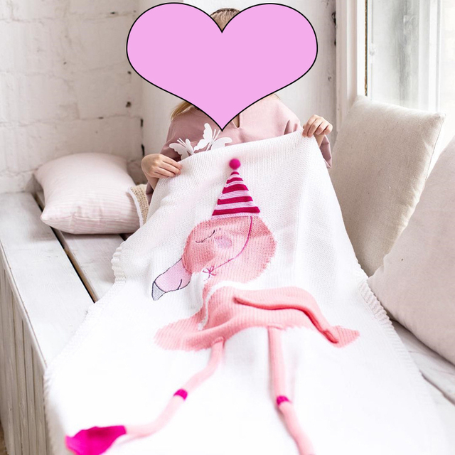 Nordic Style 60x120CM Knitted Flamingo Blanket For Baby FlamingoKnitting Blanket For Kid baby Shower Gifts Unicorn Throw Blanket