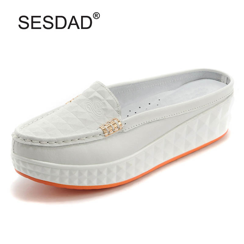 New Casual Women Genuine Leather Platform Shoes For Woman Slippers Fashion Slip-on Women Beach Sandals Ladies Slides White Shoes yierfa beach flowers flip flops 2017 new wedges sandals casual platform shoes woman slip on creepers flats slippers size 35 40