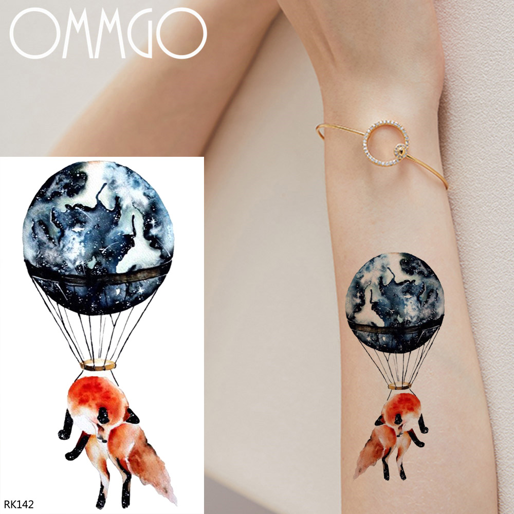 US $0.39 10% OFF OMMGO Earth Hot Air Balloon Fox Temporary Tattoos For  Women Kids Flash Tattoo Sticker Waterproof DIY Fake Arm Tattoo Paper  Paste-in ...