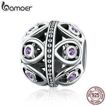 BAMOER Hohe Qualität 925 Sterling Silber Elegante Lila Zirkonia Droplet Perlen fit Halskette Armband Schmuck, Der SCC1048
