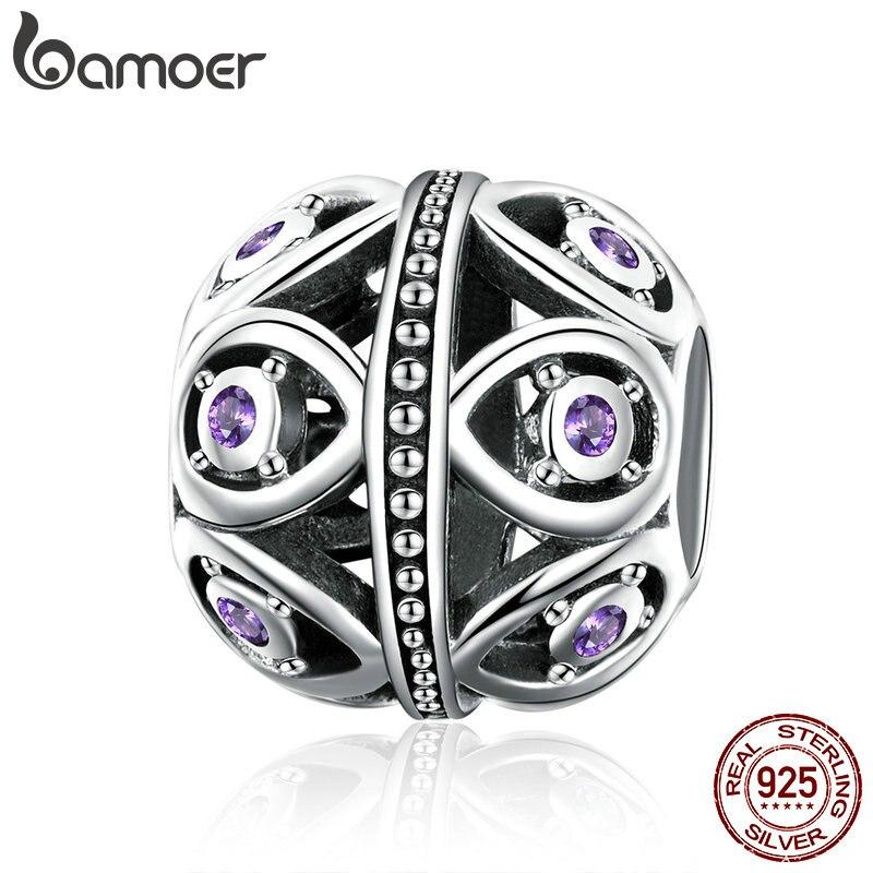 BAMOER alta calidad plata esterlina 925 elegante púrpura Cubic Zirconia gota cuentas de collar de la joyería de la pulsera que SCC1048