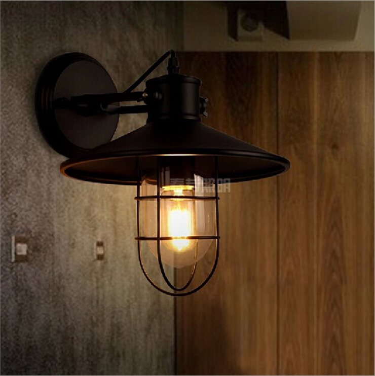 Nordic American country industrial personality retro minimalist style loft warehouse hotel bar cafe cage wall sconce lamp light