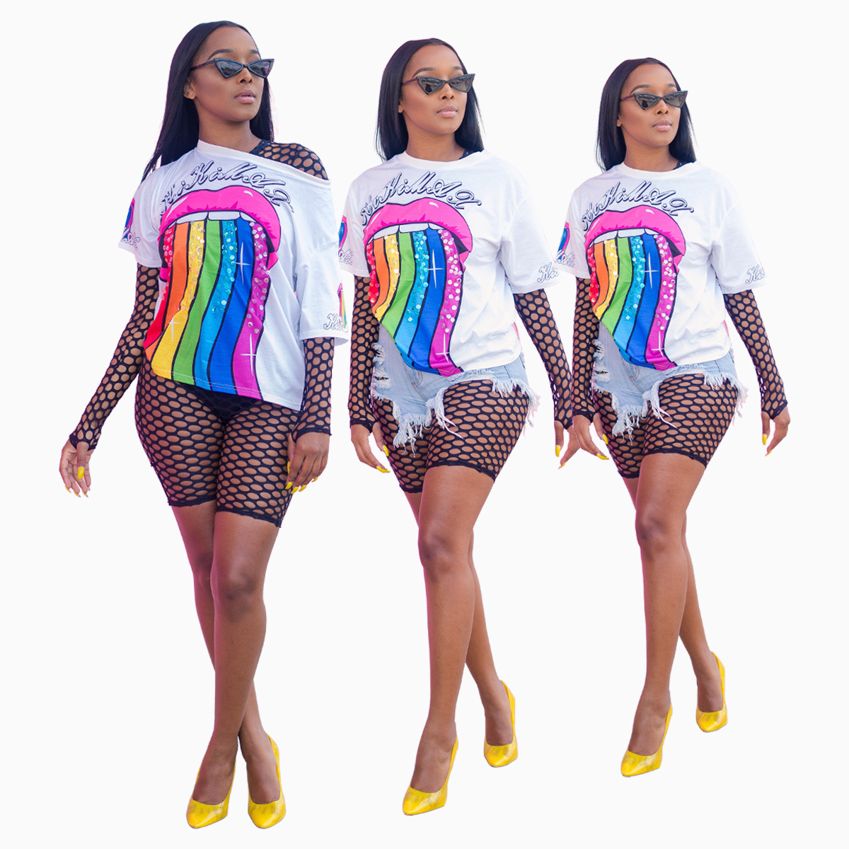 Womens Rainbow Lip Printed Bodycon Dress Half Sleeve