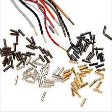 Os fechos de extremidade de couro tampões prata/ouro/bronze dobram sobre o conector das extremidades do cabo do friso para o cabo da cintura das sapatas que faz acessórios