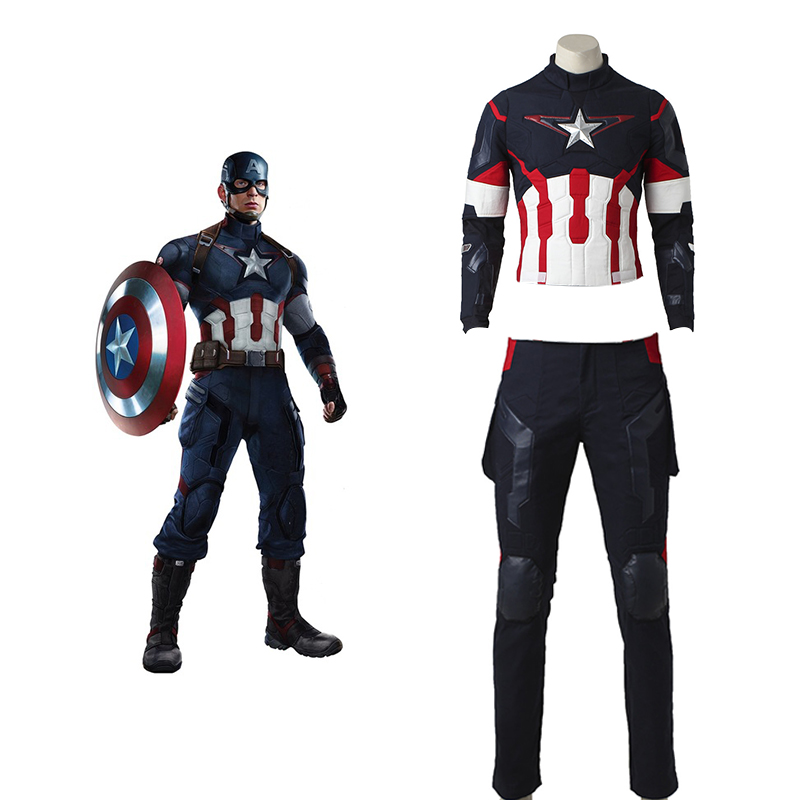 Captain America Cosplay Avengers 2 Age of Ultron Costume Jacket Man Adult Fantasy Steve Rogers Halloween Men Pants Accessories