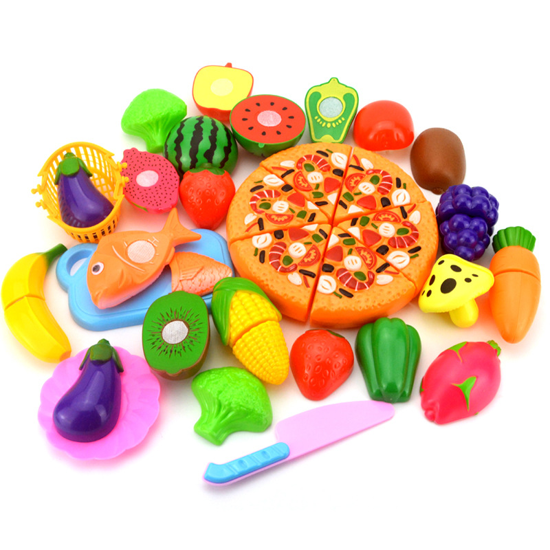 24Pcs/Set Pretend Play Classic Kitchen Toys Fruit Vegetable Cut Interactive DIY Toy Kids Children Educational Play House Set