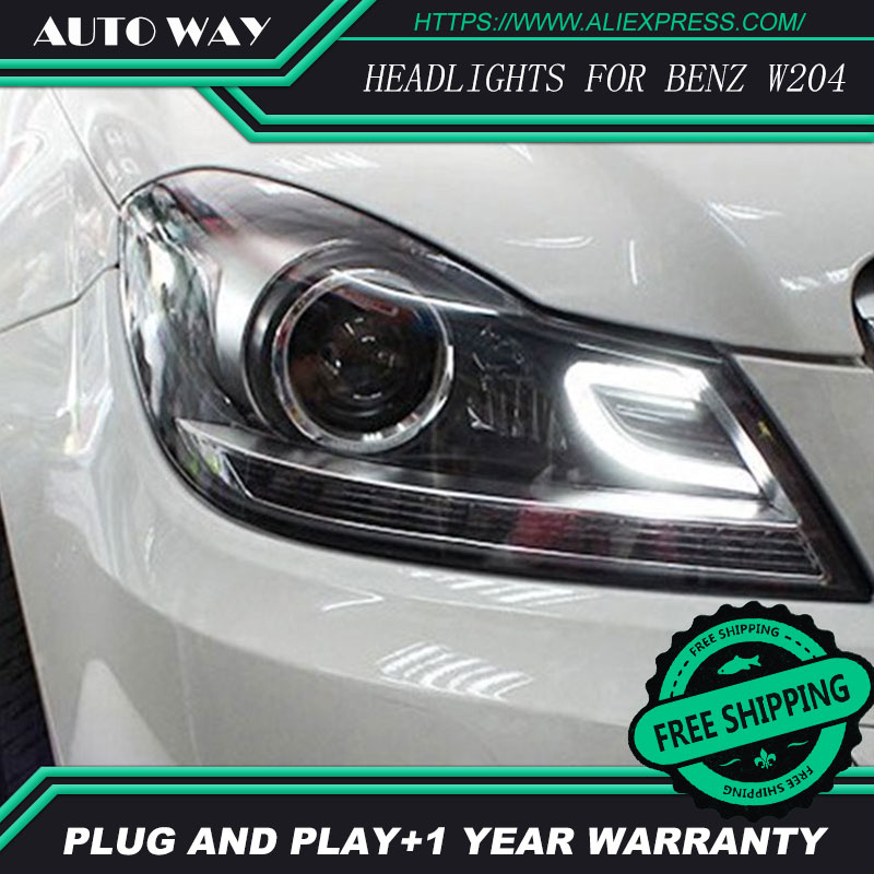 Free shipping ! Car styling LED HID Rio LED headlights Head Lamp case for Benz W204 2011-2013 Bi-Xenon Lens low beam free shipping for vland car head lamp for great wall h6 2011 2013 led headlight hid bi xenon headlamp with led drl plug and play