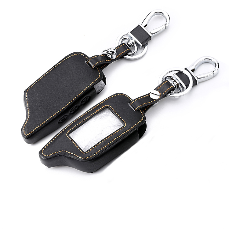 Remote 3 Buttons Leather Car-Styling Key Cover Case For Starline B9 B6 A91 A61 Twage Two Way Car Alarm System Keychain