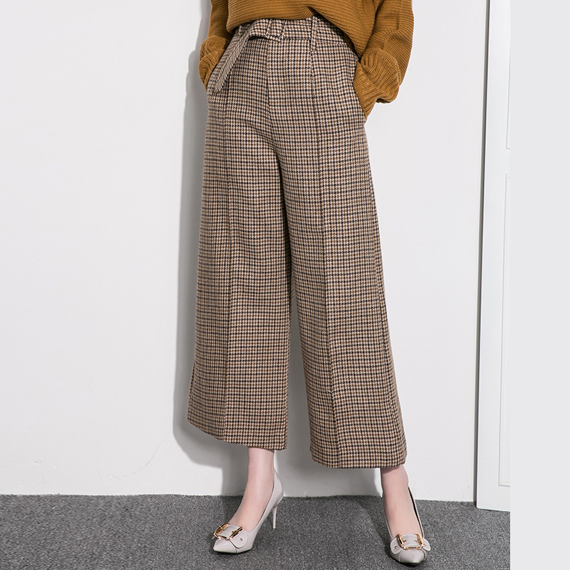 Cakucool New Women Plaids Wide Leg   Pant   High Waist Loose Woolen Trousers Straight Camel Khaki Cashmere Long   Capris   Large Size