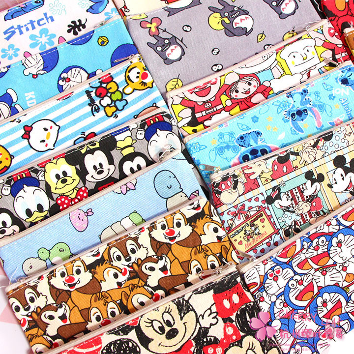 IVYYE Totoro Doraemon Mickey Anime Cosmetic Bags Canvas Zipper School Pencil Case Storage Pen Bag Multifunction Pouch New