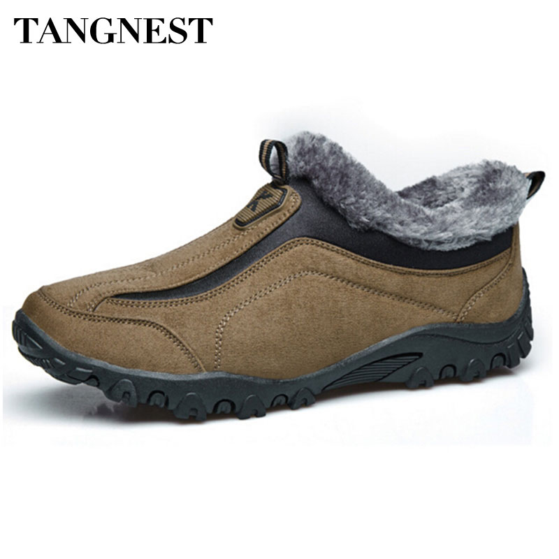 Tangnest Outono Inverno Novos Homens Sapatos Casuais Conforto Botas de Neve Moda Masculina Slip-On Sapatos Homem Inverno Quente Sapatos Com Pele XYD007
