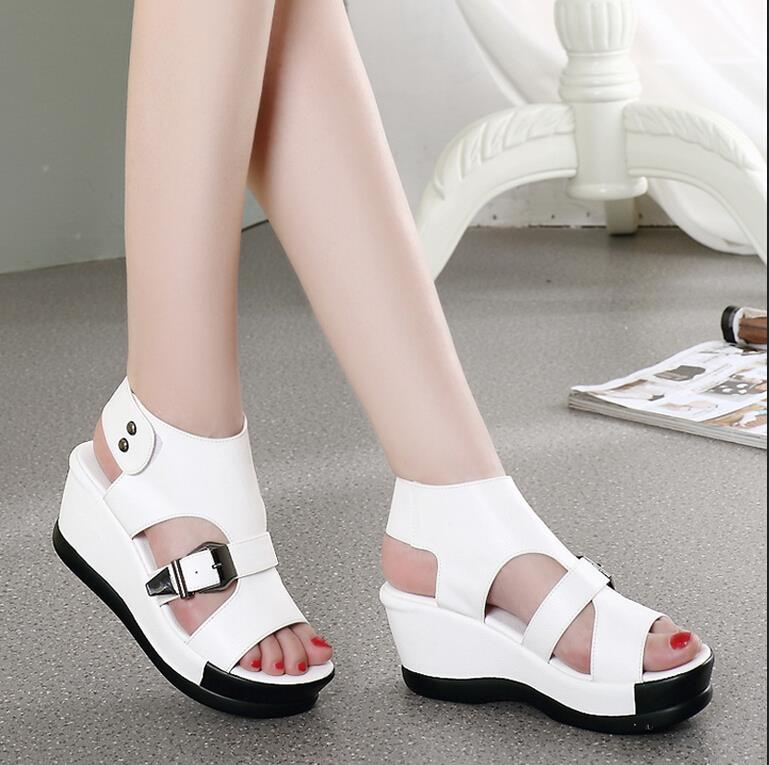 New 2017 women genuine leather platform sandals waterproof wedge sandals female thick bottom high-heeled shoes