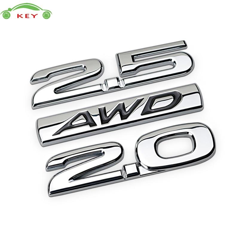 Metal Car Sticker for Buick Regal Volvo Mazda CX4 CX5 CX7 CX9 Lincoln Subaru Lada 2.0 2.5 AWD Auto Body Rear Letter Emblem Badge auto chrome camaro letters for 1968 1969 camaro emblem badge sticker