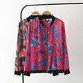 3XL 2016 nuevas mujeres de la chaqueta de verano sábanas de algodón estampado floral chaquetas para el verano más tamaño mujer grande europeo del tamaño chaquetas