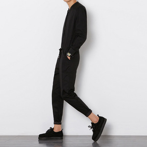 Image 5 - Helisopus 2020 Mens Overalls Rompers With Zipper Harem Bib Pants Male Long Sleeved One Piece Skinny Black Jumpsuit Asian size