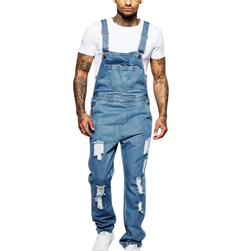 Mens Denim Casual Slim Overalls Jumpsuits Jeans Suspenders Cowboy Pants Trousers