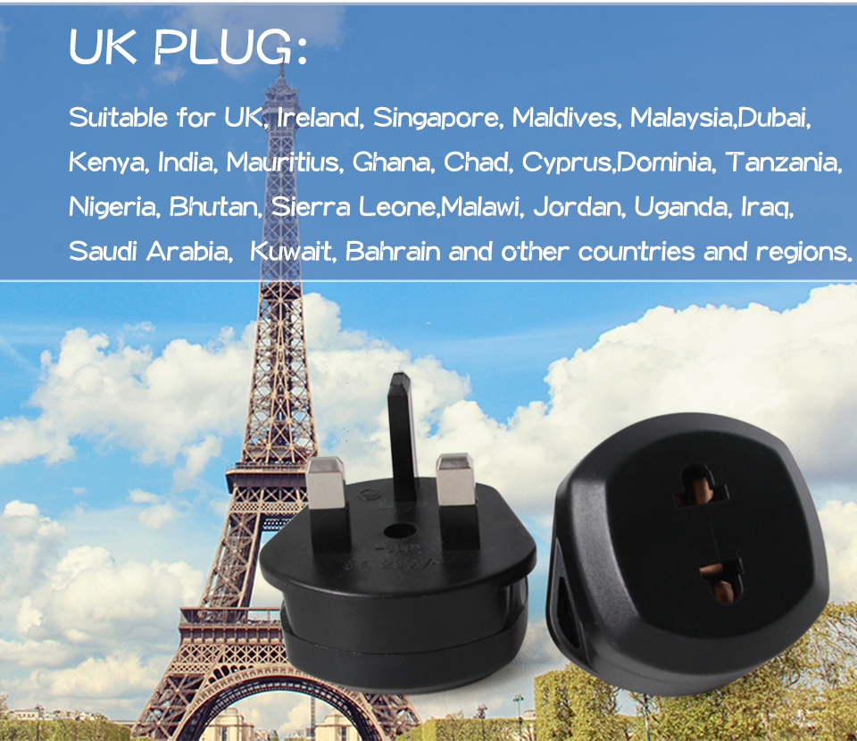 1PC EU US To UK Conversion Plug Travel In UK Ireland Singapore Maldives Malaysia Dubai Kenya India Mauritius Smartphone Charging (8)