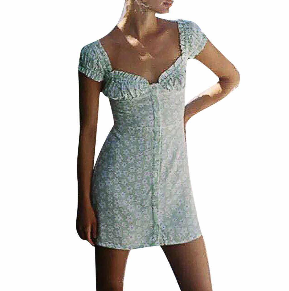 패션 여성 여름 드레스 인쇄 짧은 소매 퍼프 슬리브 비치 미니 드레스 캐주얼 여름 드레스 2020 파티 드레스 vestidos