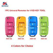 Xhorse série x001 colorida (rosa amarelo azul verde), 1 peça chave remota universal de estilo vw b5, 3 botões para ferramenta chave vvdi