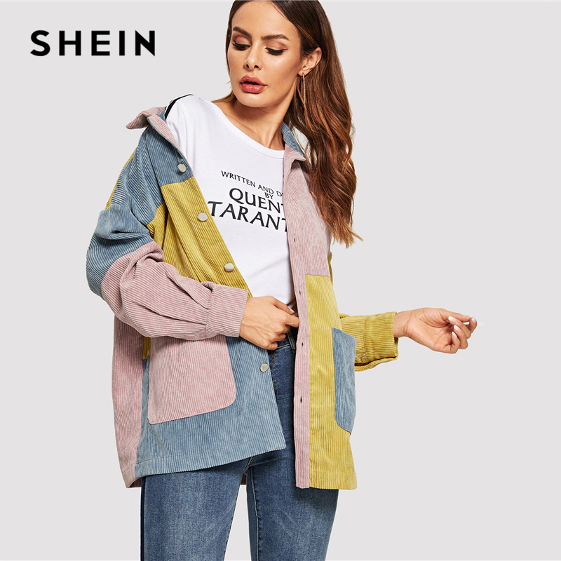 ccf7e8888c SHEIN Casual Multicolor Cut and Sew Pocket Front Corduroy Single Breasted  Coat Autumn Modern Lady Women Coat Outerwear-in Basic Jackets from Women's  ...