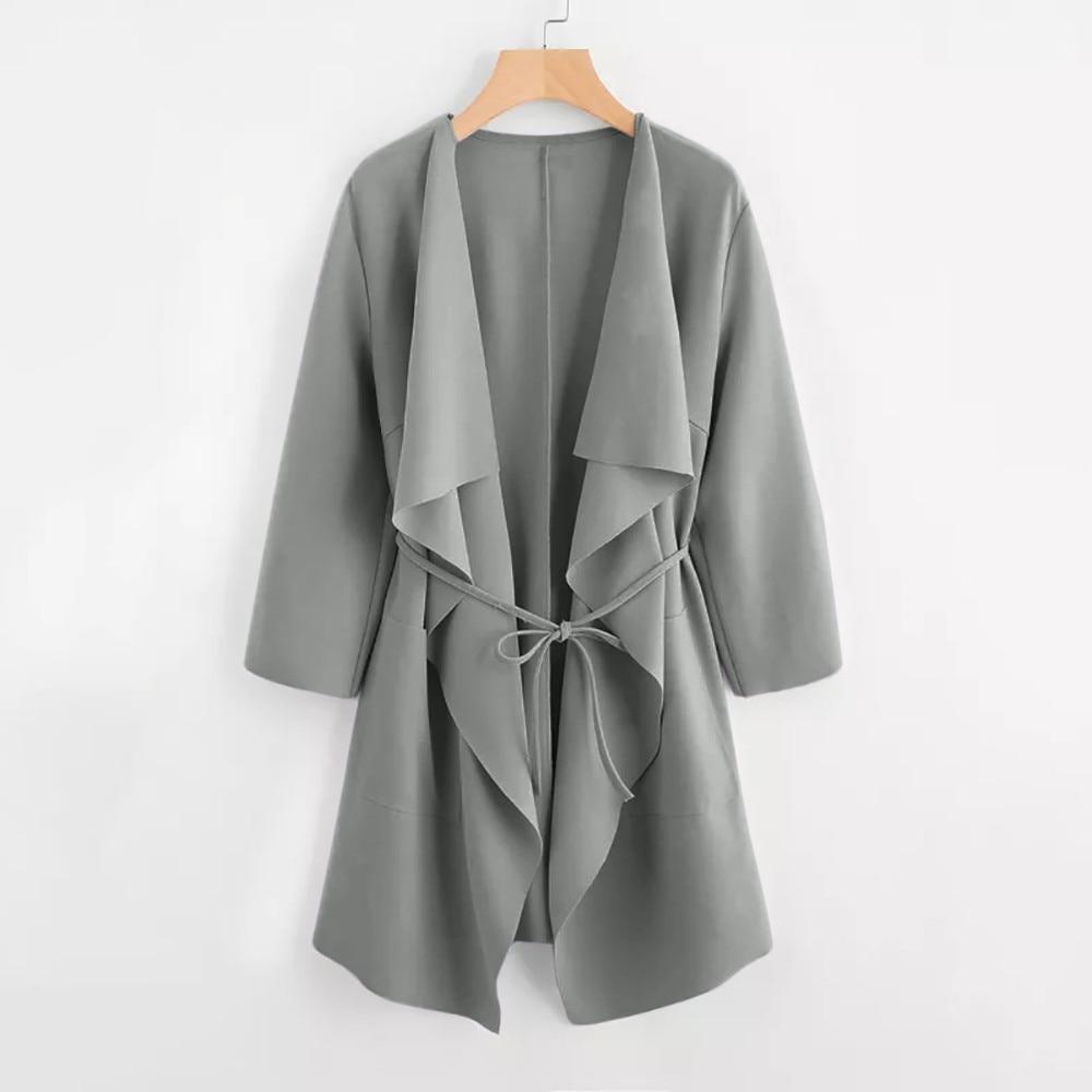 2018 New Women Fashion Casual   Trench   Coat Waterfall Collar Pocket Front Wrap Coat Outwear Solid Women Long Coat SA60